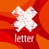 Abstract vector logo letter X on a red background