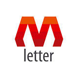 Abstract vector logo red letter M