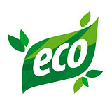 eco vector logo in the form of a green leaf