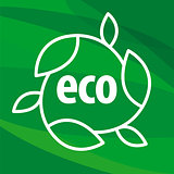 eco vector logo in the shape of the leaves on a green background