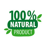 Green vector logo for 100% natural products