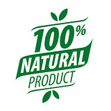 Green vector logo for a 100% natural food