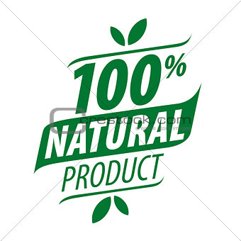 Green vector logo for a 100% natural food