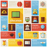 Flat Design Vector Icons Infographic Education Concept