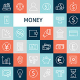 Vector Flat Line Art Modern Money and Finance Icons Set