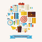 Vector Flat Style Business Workplace and Office Objects Concept
