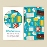Vector Office Workplace Business Banners Set Template