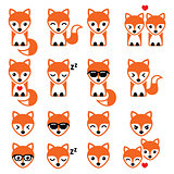 Fox cute character icons, wildlife