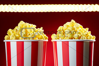 Bowls Filled With Popcorn For Movie Night Red Background