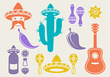 Mexico silhouette icons