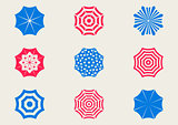 Sun umbrella icons