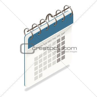 Calendar detailed isometric icon