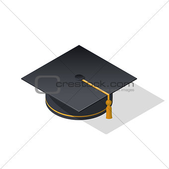 Cap graduate isometric icon