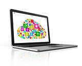Cloud Computing Symbol on a laptop