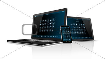 Smartphone tablet pc and Laptop
