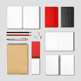 stationery books and notebooks mockup
