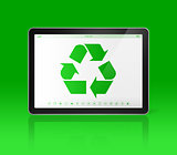 Digital tablet PC with a recycling symbol on screen. ecological