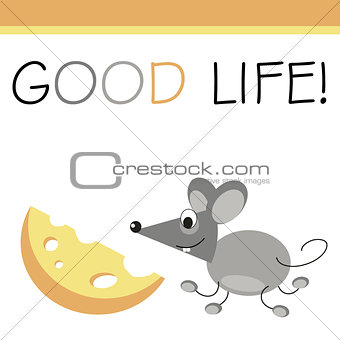 Post card mouse and cheese