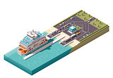 Vector isometric ferry port