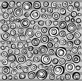 loop spiral concentric circles collection in black and white