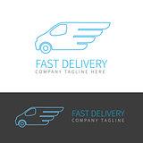 Blue delivery van contour logo