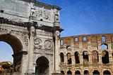 Arco de Constantino and Colosseum in Rome, Italy