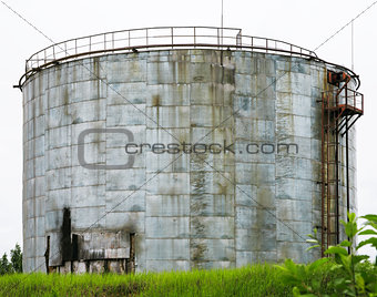 old industrial storage tank with stairs