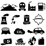 Pollution and environment icons