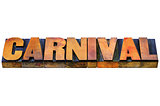 carnival word in wood type