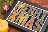 Merry Xmas on digital tablet