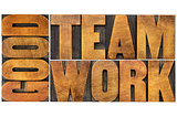 good teamwork word in wood type