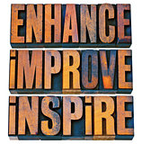 enhance, improve, inspire in wood type