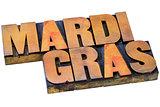 Mardi Grass letterpress typography