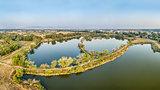 aerial panorama view of lake natural area