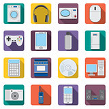 Set of flat home aplliances and electronic devices icons.