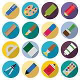 Set of flat painting icons.