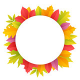 Colorful Autumn Leaves Round Frame