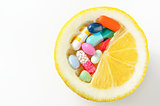 pills and lemon  isolated