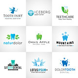 Set of dental logos. Vector tooth designs. Bright teeth clinic template. Creative health concept. Oral care symbols collection