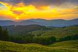 beautiful sunset in Carpathian Mountains