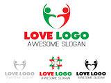 Couples team heart logo design