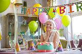 Birthday woman at home