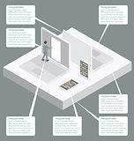 Vector 3d Flat Isometric With Startup Concept