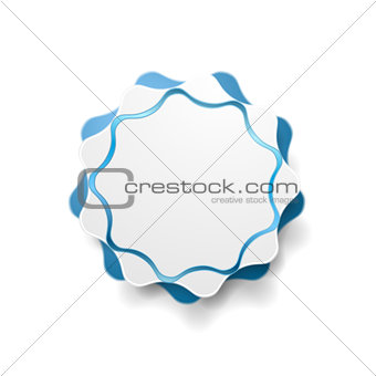 Abstract blue wavy shape vector sticker