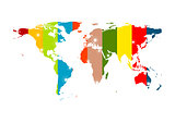Colorful abstract world map background