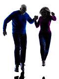 couple senior running jumping happy  silhouette