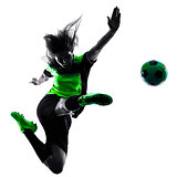 woman soccer player isolated silhouette