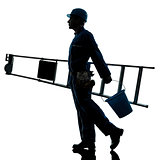 repair man worker ladder walking silhouette