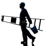 repair man worker ladder walking silhouette