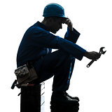 repair man worker sad fatigue failure  silhouette